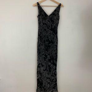 Anne Klein Maxi Dress Black Silk Gray Velvet